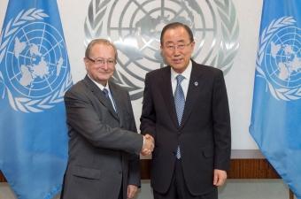 President Agius at the meeting with the UN Secretary-General Ban Ki-moon