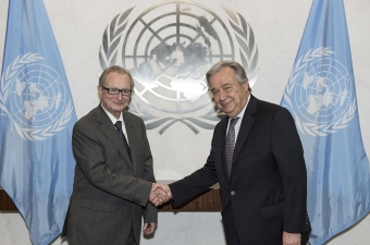 Secretary-General António Guterres (right) meets Judge Carmel Agius, President of the International Criminal Tribunal for the former Yugoslavia.