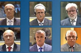 Jadranko Prlić, Bruno Stojić, Slobodan Praljak, Milivoj Petković, Valentin Ćorić et Berislav Pušić