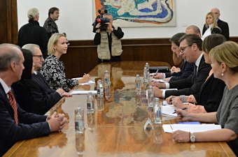 ICTY President Carmel Agius meets with Serbian President Aleksandar Vučić in Belgrade on 1 November 2017.