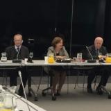 ICTY President Agius, ICC President Silvia Fernández de Gurmendi, and ICTY Judge Pocar