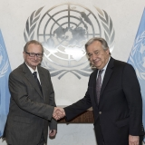 Secretary-General António Guterres (right) meets Judge Carmel Agius, President of the International Criminal Tribunal for the former Yugoslavia.