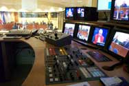 Audio visual control booth in Courtroom 1.